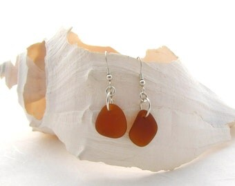 Sterling Silver French Ear Wire with Amber Beach Glass/Sea Glass