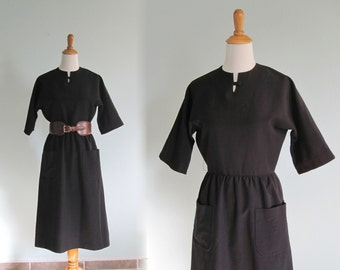 CLEARANCE Vintage 1960s Dress - Classic Black Day Dress by Nardis of Dallas - 60s Black Dress M
