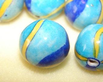 Beachball Designed Vintage Porcelain 6 Beads