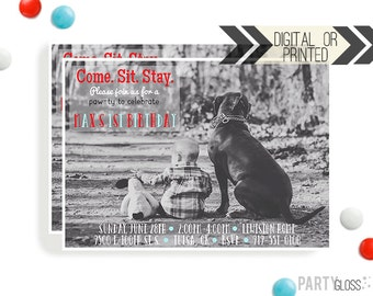 Puppy Birthday Invitation | Digital or Printed |  Puppy Party | Dog Invite |  Puppy Dog Invite | Black Puppy Invitation | Black Dog Party