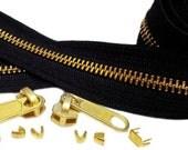 Brass Zipper Chain YKK / Zipper Tape #5 /by the yard/Colors green black brown/  3 YARDS