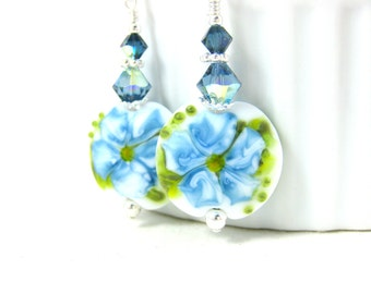 Blue White Flower Dangle Earrings, Lampwork Earrings, Denim Blue Floral Earrings, Botanical Earrings, Glass Drop Earrings, Nature Jewelry