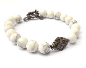 White Howlite Bracelet with Gunmetal Charm for a Small-Medium Wrist