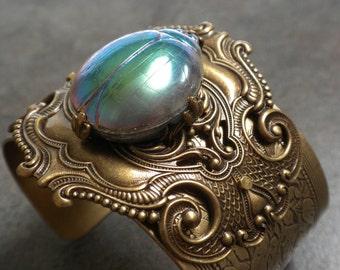 Egyptian Revival Jewelry Scarab Bracelet Statement Cuff