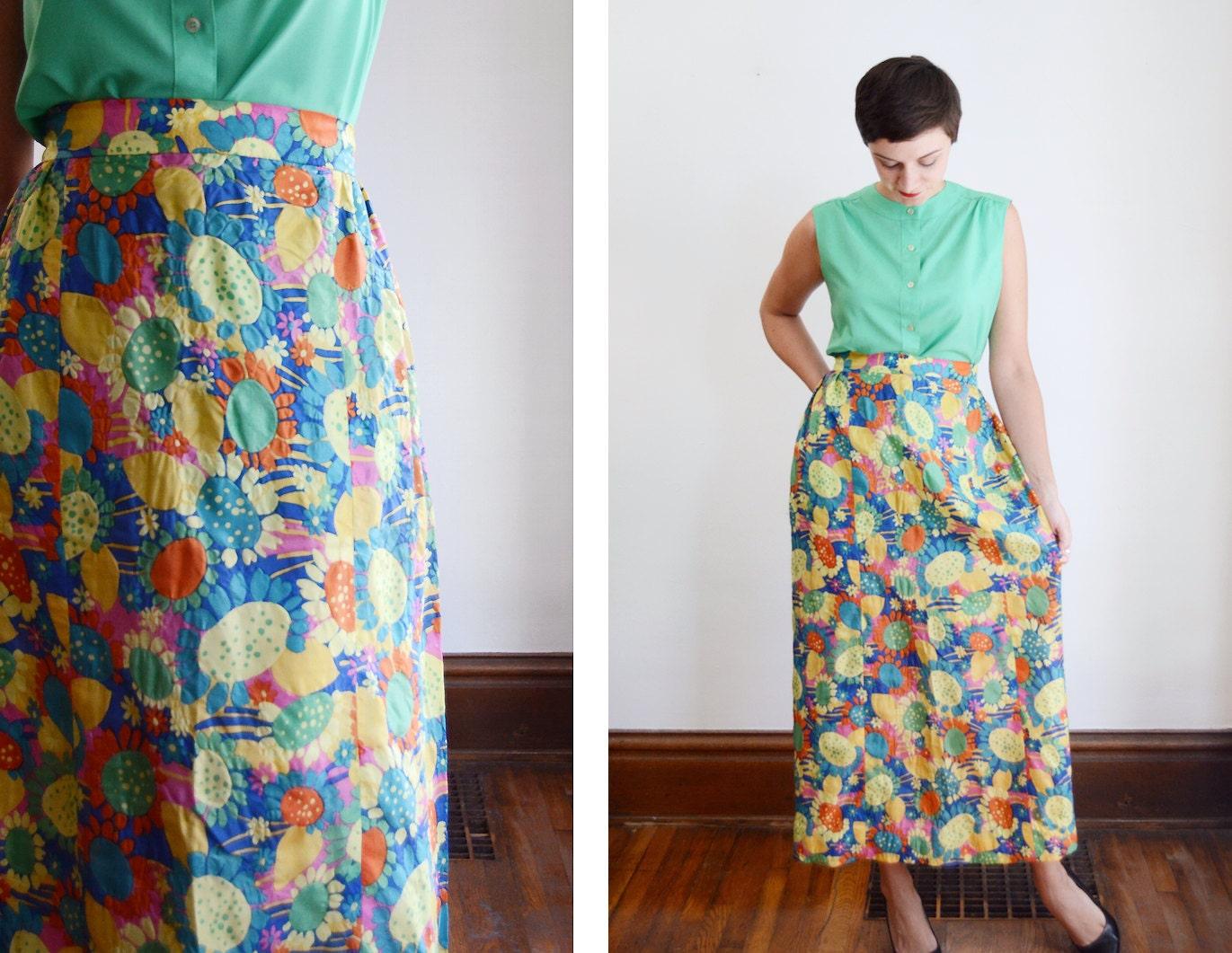 1960s sunflower midi skirt s m