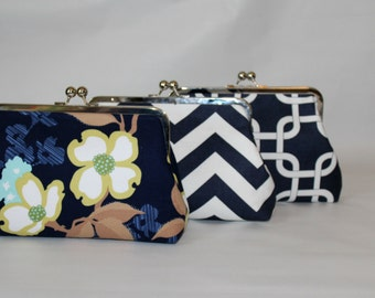 Bridal Clutch - Wedding Clutch - Bridesmaids Clutch - Wedding Purse - Bridesmaid Gift - Navy Clutch Set -  Bridesmaids Clutch Set of 6