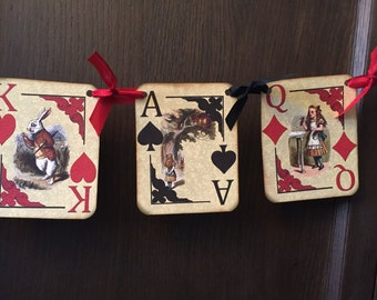 Aice in Wonderland Playing card Banner with Red and Black ribbon