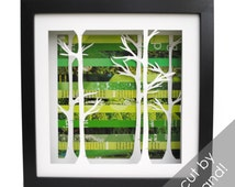 birch tree forest shadowbox- made from recycled magazines, trees, birch, nature, forest,