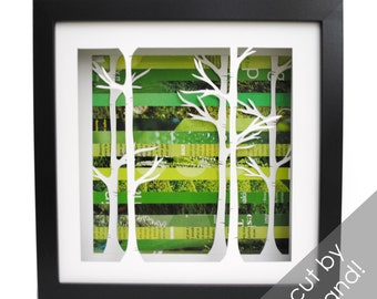 birch tree forest shadowbox- made from recycled magazines, trees, birch, nature, forest, frame, modern trees, green background
