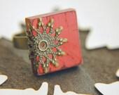 Cottage Chic Ring Coral Pink Scrabble Tile Filigree Adjustable - Coral Pier