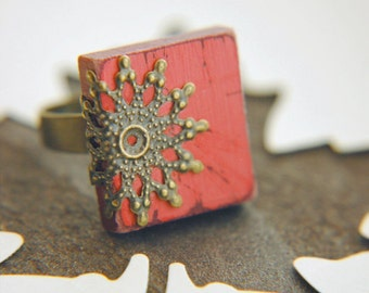 Cottage Chic Ring Coral Pink Scrabble Tile Filigree Adjustable - Coral Pier
