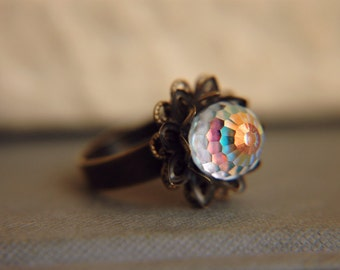 Vintage Statement Dome Ring Disco Ball Victorian Edwardian Adjustable - After the Rain
