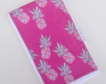 Burp Cloth  for Baby - Pink Pineapple Print - Single Burp Cloth  - Boutique  Baby Gift / Layette Set - Made in Maui, Hawaii USA