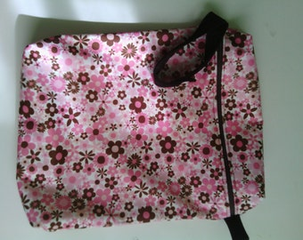 PUL Wet Bag Pink and Brown floral  print with Brown coil zipper handle and snap
