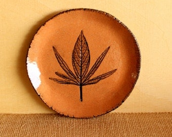 Red Ceramic LEAF Plate - Handmade Red Stoneware Leaf Dish - Red Clay Soap Dish - Jewelry Dish - Ready To Ship