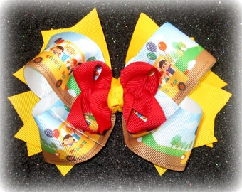 school bus bow, The wheels on the bus, BTS hair bow, Back to school bows, Yellow hair bow, uniform bow, stacked bows, girls boutique Bow