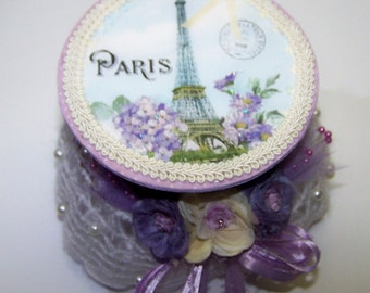 Decorated Box, Wedding, Violet, Purple, France, Paris, Eiffel Tower, French, Ring Box, Trinket Box, Jewelry Box, Home Decor, Gifts for Her
