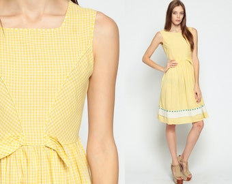 1960s Dress Gingham Dress Tea Length EYELET LACE Party 60s Mod Pastel Sleeveless Pin Up 1960s High Waisted Checkered Yellow Vintage small xs