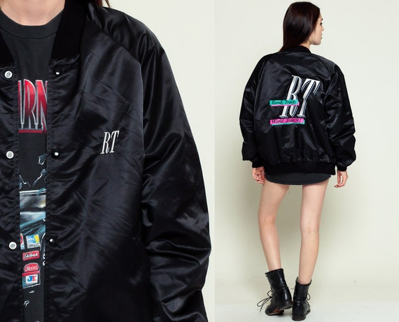 Black Satin Baseball Jacket | Outdoor Jacket