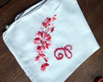 "Vintage White Hanky/Handkerchief ""C"" Monogram in Dark Pink. Floral Focal Corner"