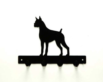 Boxer Metal Art Dog Leash or Key Rack - Free USA Shipping