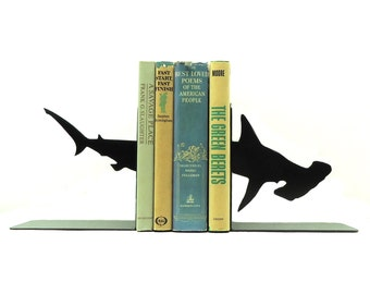 Hammerhead Shark Metal Art Bookends - Free USA Shipping