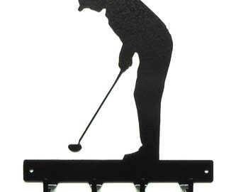 Golfer Metal Art Key Rack - Free USA Shipping