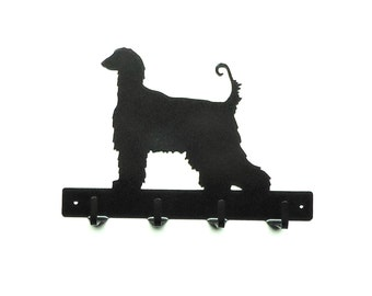 Afghan Hound Dog Metal Art Leash Rack - Free USA Shipping