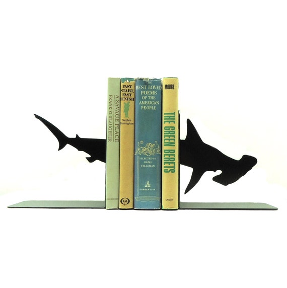 Hammerhead Shark Metal Art Bookends - Free USA Shipping