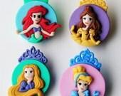 THE PRINCESSES - Disney Ariel Cinderella Beauty Rapunzel Cameo Dress It Up Craft Buttons
