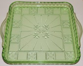 Green Doric Depression Glass Square Handled Relish Tray