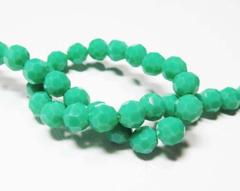 LOOSE Glass Beads - Glass Crystal Beads - 8mm Faceted Round - Opaque Teal Green (6 beads) - gla1016