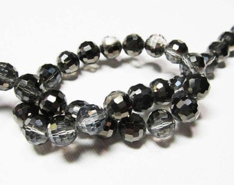LOOSE Glass Beads - Glass Crystal Beads - 8mm Faceted Round - Clear with Gunmetal Black (6 beads) - gla1027