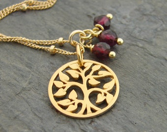 Tree of Life Garnet Gold Necklace - Family Love - January Birthstone - Yoga inspired Necklace Mothers day gift. Family Tree, Inspirational