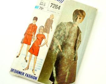 Vintage 1960s Womens Size 12 Shift Dress and Jacket Simplicity Sewing Pattern 7264 Complete / bust 32 waist 25