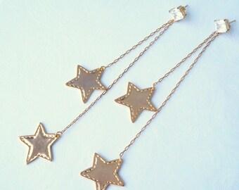 Gold Plated Long Star Earrings