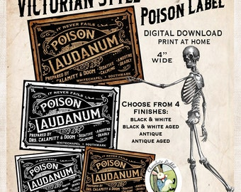Victorian Poison Laudanum Halloween Apothecary Bottle Label Tag Digital Download Steampunk Vintage Style Printable Clip Art Collage Sheet