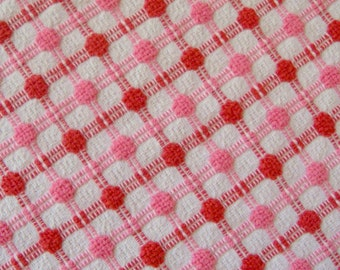 Bates Tonal Pink Pops and Plaid Woven Vintage Chenille Bedspread Fabric 12 x 24 Inches