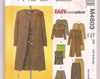McCalls 4603 Jacket Skirt Pants and Sleeveless top Lined Jacket In two lengths Skirt and Pants Pattern Office Wear Career Woman 16 18 20 22
