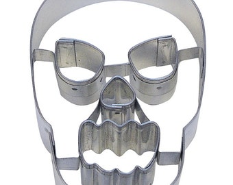 """3.25"""" Halloween Skull Cookie Cutter with Cut outs, Day of the Dead cookie cutter"""