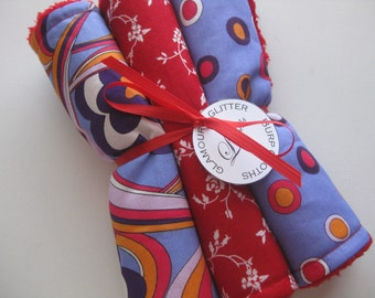 """Baby Burp Cloth Set of 3 """"Glamour and Glitter"""" Pucci Inspired Polka Dot  Swirl Girl"""