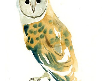 BARN OWL Original watercolor painting 8x10inch(Vertical orientation)