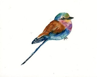 LILIAC breasted ROLLER Original watercolor painting 10x8inch
