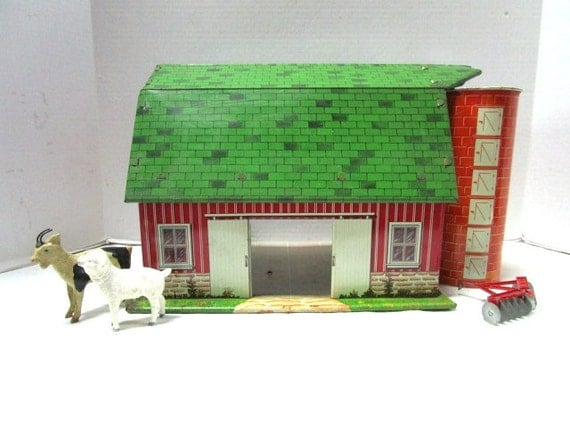 Vintage Toy Metal Barn W Silo Happi Time By Marx