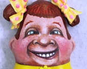 """Cloth doll, painted doll, Hanging """"Ugly Ginger"""", OOAK, NIADA artist Donna May Robinson"""