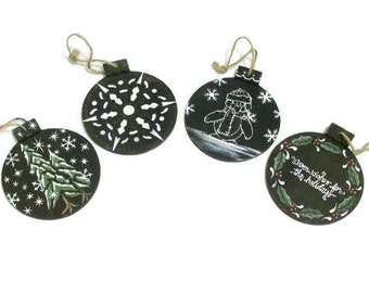 Hand Painted Christmas Ball Chalkboard Ornaments