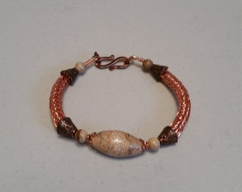 Viking knit bracelet with copper wire and jasper bead