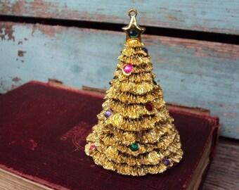 Vintage Christmas Tree Ormolu Gold Metal Ornament Rhinestones Unique Hollywood Regency Christmas Decoration