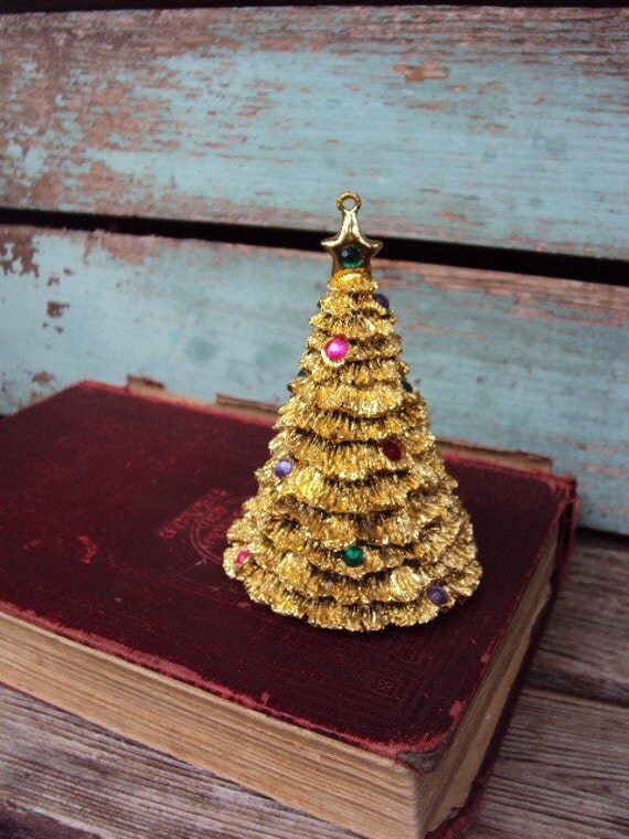 Vintage Tin Christmas Tree Ornaments : Vintage christmas tree ormolu gold metal ornament rhinestones