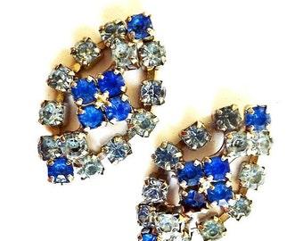 Vintage Blue Rhinestone Earrings, Clip On Earrings, Dressy Earrings, Blue Earrings, Blue Jewelry, Costume Jewelry